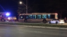 A car collided with a GRT bus in Waterloo Thursday night. (Terry Kelly / CTV)