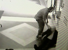 This image taken from security camera video shows the attack in Vancouver, B.C.