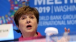 International Monetary Fund (IMF) Managing Director Kristalina Georgieva speaks during a news conference during the World Bank/IMF Annual Meetings in Washington, Thursday, Oct. 17, 2019. (AP Photo/Jose Luis Magana)