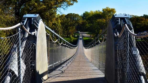 Swinging bridge in Souris. Photo by Dylan Bertholet.