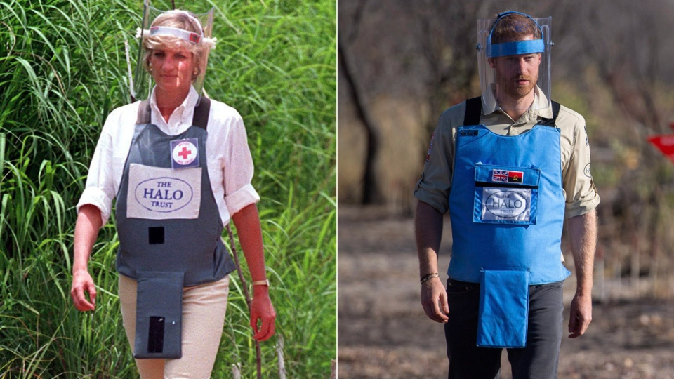 Princess Diana in a minefield in Huambo, in Angola, on Jan. 15, 1997, and Prince Harry in a minefield in Dirico, Angola, on Sept. 27, 2019. (John Stillwell / PA / Dominic Lipinski / AP)