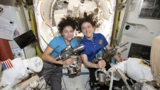 U.S. astronauts Jessica Meir and Christina Koch