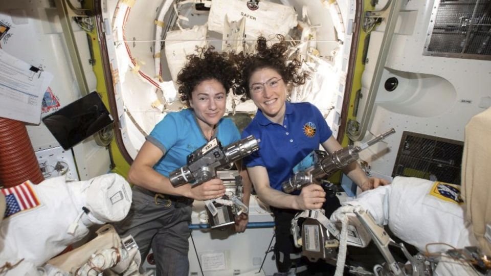 U.S. astronauts Jessica Meir, left, and Christina Koch in the International Space Station, on Oct. 17, 2019. (NASA via AP)