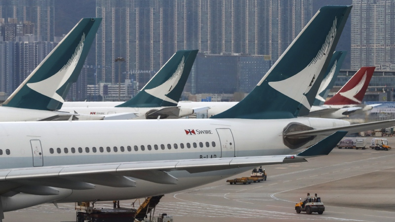 Cathay Pacific Airways planes park at the Hong Kong International Airport, on Aug. 12, 2019. (Vincent Thian / AP)
