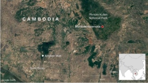 """Shrouded in mystery for decades, Mahendraparvata has been dubbed the """"lost city."""" Now, scientists say they have identified it for certain. (CNN via Google Earth)"""