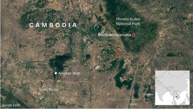 "Shrouded in mystery for decades, Mahendraparvata has been dubbed the ""lost city."" Now, scientists say they have identified it for certain. (CNN via Google Earth)"
