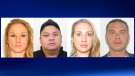 Warrants have been issued for (left to right) Ashley Myshrall, Sherwin Mendoza, Kathleen Jackson and Jason Buckley