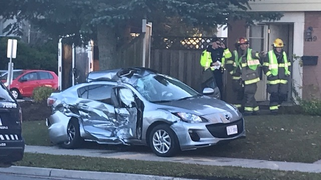 A car after a crash in Kitchener