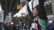 Dozens of basketball fans braved the rain to show the league Vancouver wants a second chance at having an NBA team.