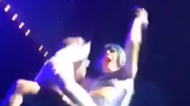 Caught on cam: Lady Gaga falls off stage
