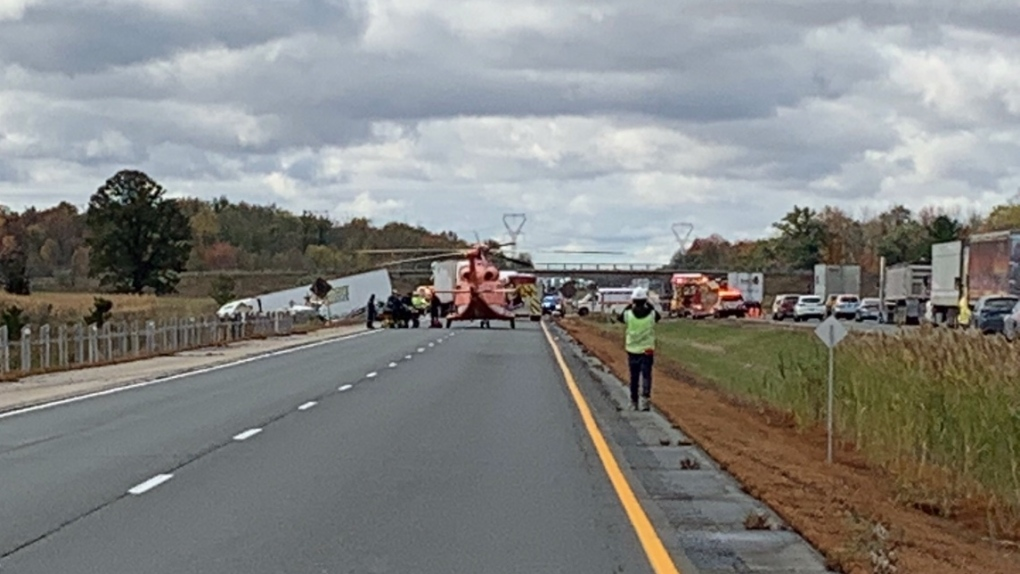 Air ambulance called in after fatal crash that shut down Highway 401