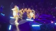 Lady Gaga tumbles off stage