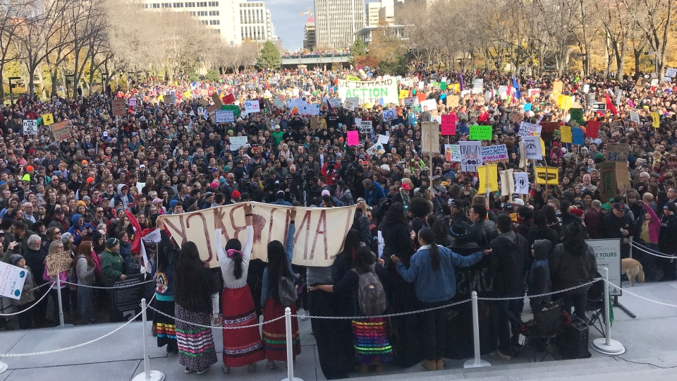 Climate change protesters outside the legislature building in Edmonton. (Dave Mitchell/CTV News Edmonton)