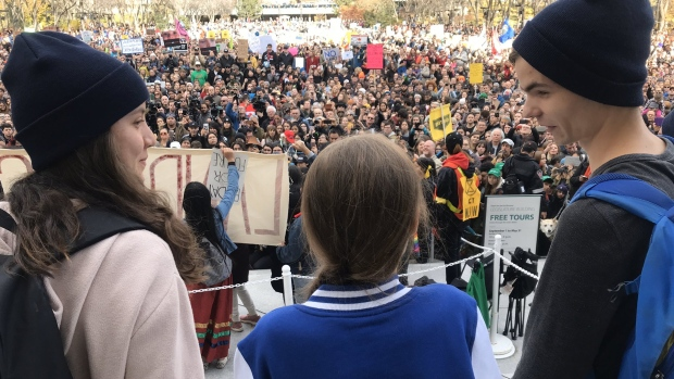 Greta Thunberg joins climate change protesters outside the legislature building in Edmonton. (Dave Mitchell/CTV News Edmonton)