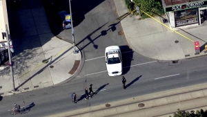 Emergency crews are seen at the scene of a shooting in the city's west end on Oct. 18, 2019. (CTV News Toronto Chopper)