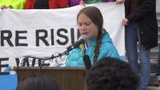 Greta Thunberg speaks in Edmonton on Oct. 18, 2019.