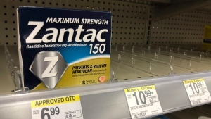 In this Sept. 30, 2019, file photo a box of Maximum Strength Zantac tablets is shown at a pharmacy in Miami Beach, Fla. (AP Photo/Wilfredo Lee, File)