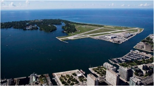 Billy Bishop Toronto City Airport is pictured on Friday, July 26, 2013. Toronto's island airport has taken down an advertisement after animal rights activists complained it is disrespectful to cows. (The Canadian Press/Michelle Siu)