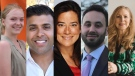 Some of the Vancouver Granville candidates, from left: Yvonne Hanson, Taleeb Noormohamed, Jody Wilson-Raybould, Zach Segal, Louise Boutin.