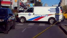 A Toronto Police Forensic Identification Services vehicle is seen here after a shooting outside Oakwood Collegiate Institute Friday afternoon, (CTV News Toronto)