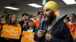 NDP leader Jagmeet Singh speaks during a campaign stop in Port Alberni, B.C., on Friday, October 18, 2019. (THE CANADIAN PRESS / Nathan Denette)