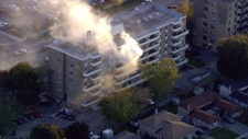 A fire at this North York apartment building has left a victim with life-threatening injuries. (CTV News Toronto)