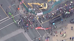 Climate protesters block traffic in downtown Vancouver on Friday, Oct. 18, 2019. (CTV/Chopper 9)