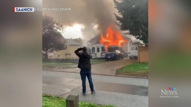 Neighbours describe explosive Saanich house fire