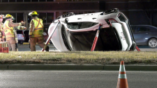A single vehicle rollover took place Friday night, injuring two