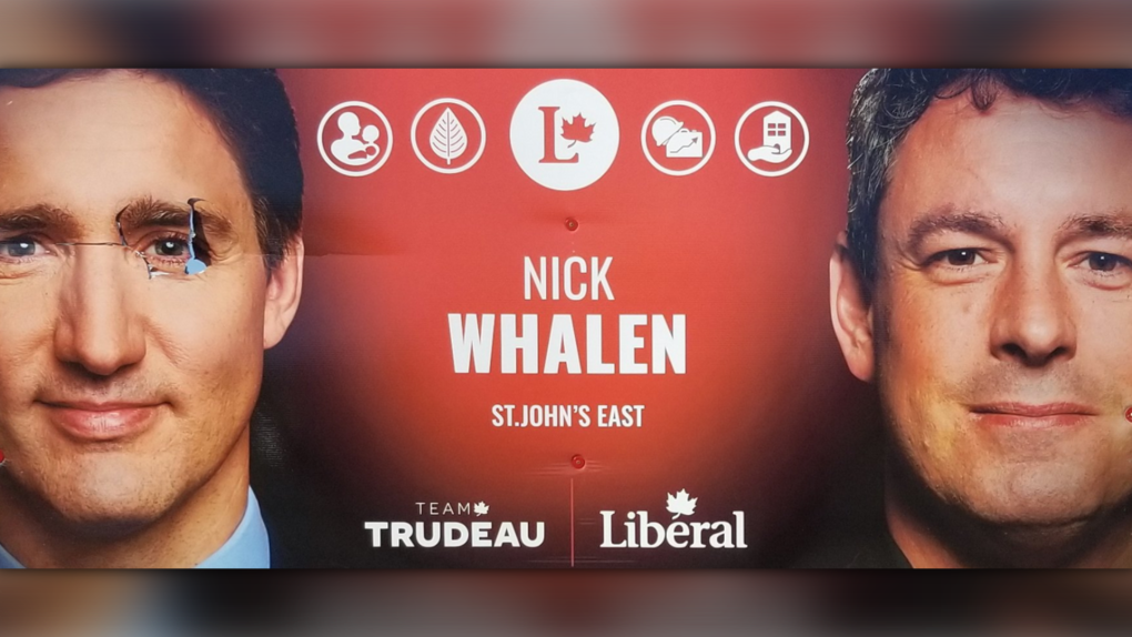 Large Liberal campaign sign in Newfoundland defaced with spray paint