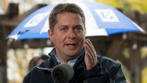 Conservative leader Andrew Scheer responds to a question as he makes a campaign stop in Fredericton, Friday, October 18, 2019. THE CANADIAN PRESS/Adrian Wyld
