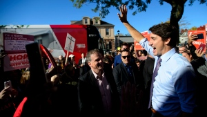 Liberal leader Justin Trudeau makes a campaign stop in Whitby, Ont. on Friday Oct. 18, 2019. (THE CANADIAN PRESS/Sean Kilpatrick)