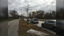 Police are on scene at Pembina Highway near the area of Markham Road and Thatcher Drive. (Beth Macdonell/CTV News Winnipeg)