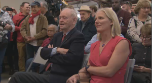 Former Prime Minister Jean Chretien joins Liberal candidate Catherine McKenna at a campaign rally on October 19, 2019.