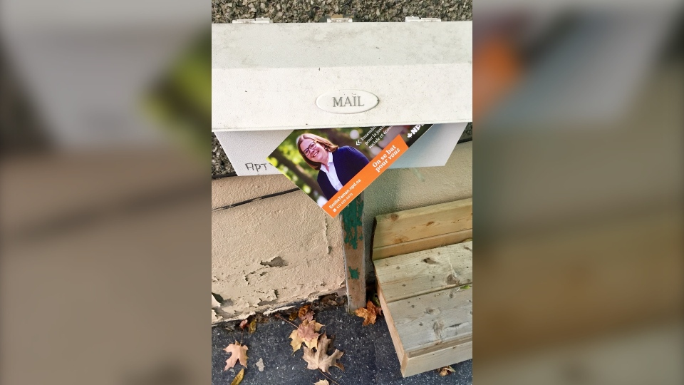 NDP flyer is left in mailbox in Ottawa Centre on Oct. 19, 2019.