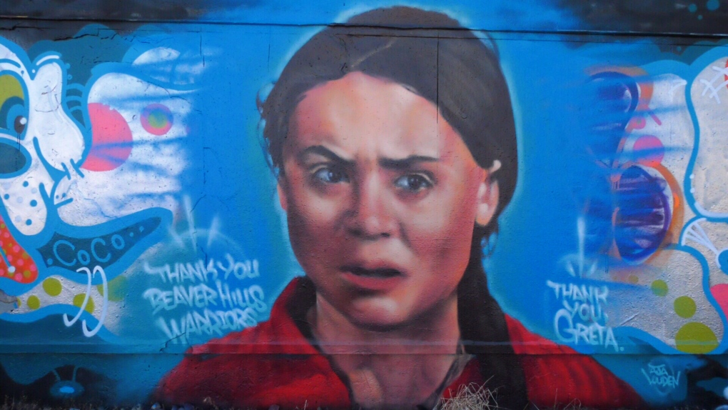 Greta Thunberg mural surfaces after teen activist comes to Edmonton