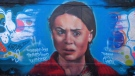 A Greta Thunberg mural has appeared in Edmonton near 94 Street after the teen climate change activist made an appearance in the city Friday. Oct. 19, 2019. (CTV News Edmonton)