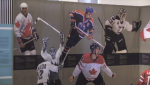 Time Travelling hockey exhibit