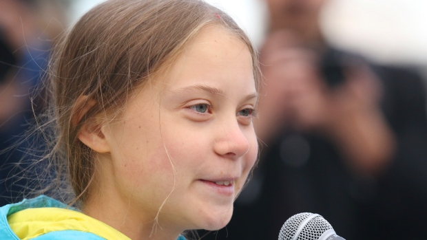 Swedish climate activist Greta Thunberg speaks at a rally at the Alberta Legislature Building in Edmonton, on Friday, Oct. 18, 2019. THE CANADIAN PRESS/Dave Chidley