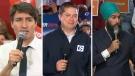 Justin Trudeau, Andrew Scheer, Jagmeet Singh