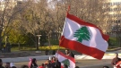 A rally in support of Lebanese protestors was held at the Alberta legislature on Oct. 19, 2019.