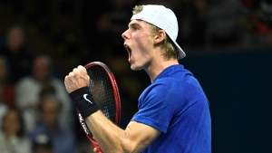 Denis Shapovalov of Canada reacts during his match against Yuichi Sugita of Japan during their men's single semifinals match at the Stockholm Open tennis tournament at the Royal Tennis Hall in Stockholm, Sweden, Saturday Oct. 19, 2019. (Claudio Bresciani / TT via AP)