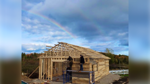 """This little business, they just love it so much in the town that they said 'Let's pull this together and do a barn raising,'"" says Oickle. ""This is the first one in Lunenburg County in nearly fifty years."""