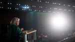 Green Party Leader Elizabeth May addresses candidates and supporters during a rally in Vancouver, Saturday, Oct. 19, 2019. THE CANADIAN PRESS/Darryl Dyck
