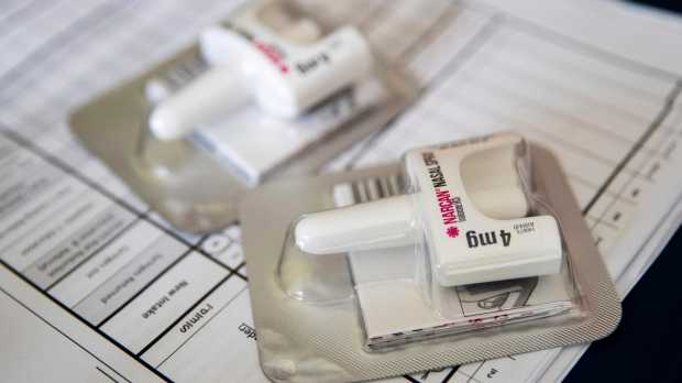 This July 3, 2018 file photo shows a Narcan nasal device which delivers naloxone in the Brooklyn borough of New York. (AP Photo/Mary Altaffer)