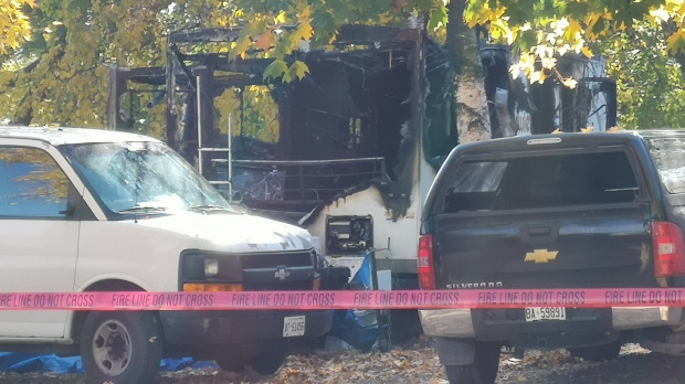 Police investigate a trailer fire in Stroud on Sunday, Oct. 20, 2019 (Don Wright/CTV News)
