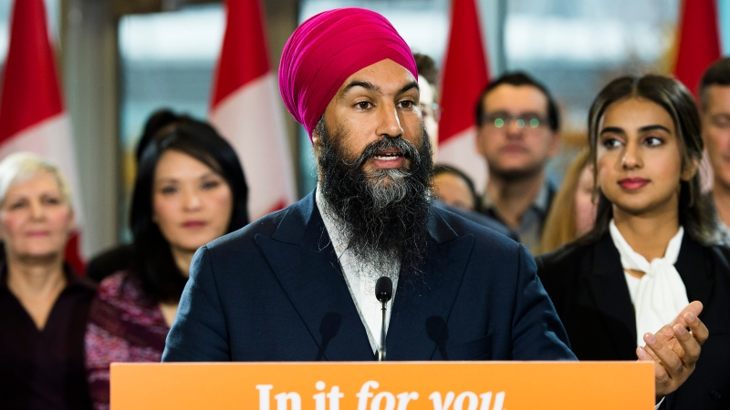 NDP leader Jagmeet Singh speaks to the media during a campaign stop in Vancouver, B.C., on Sunday, October 20, 2019. (THE CANADIAN PRESS/Nathan Denette)