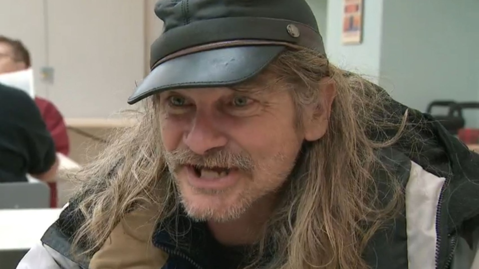 Kevin Jones, who suffers from a shoulder injury, says his disability cheque doesn't cover monthly expenses and he relies on a church meal program. (CTV)
