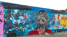 Greta Thunberg, mural, Edmonton, defaced
