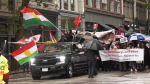 More than 100 people took to the streets of downtown Vancouver on Sunday to demand that the next federal government do more than condemn the violence on Syria's northern border. (CTV)